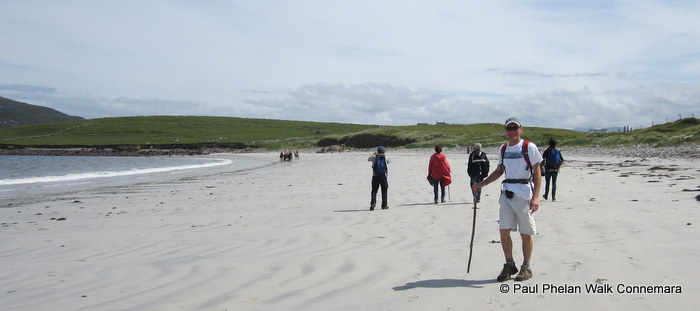 Walking along the beach at Cleggan