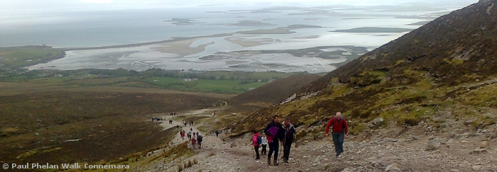 Walkers climbing Croagh Patrick with Clew bay in the distance