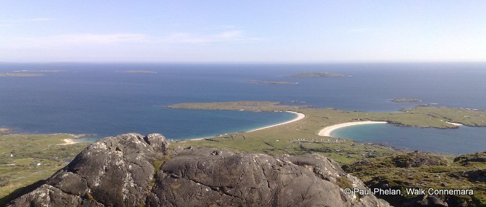 View of the Wild Atlantic Way Discovery Point Gurteen and Dog's bay beaches from Errisbeg